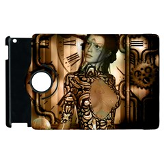 Steampunk, Steampunk Women With Clocks And Gears Apple Ipad 2 Flip 360 Case by FantasyWorld7