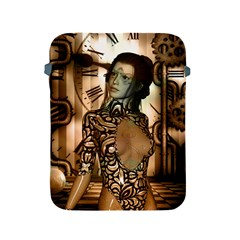 Steampunk, Steampunk Women With Clocks And Gears Apple Ipad 2/3/4 Protective Soft Cases by FantasyWorld7