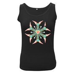 Snowflakes Heart Love Valentine Angle Pink Blue Sexy Women s Black Tank Top
