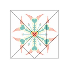 Snowflakes Heart Love Valentine Angle Pink Blue Sexy Acrylic Tangram Puzzle (4  X 4 ) by Mariart