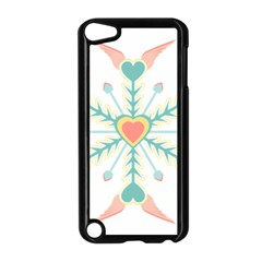 Snowflakes Heart Love Valentine Angle Pink Blue Sexy Apple Ipod Touch 5 Case (black) by Mariart