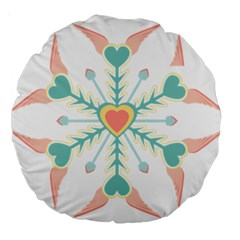 Snowflakes Heart Love Valentine Angle Pink Blue Sexy Large 18  Premium Round Cushions by Mariart