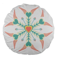Snowflakes Heart Love Valentine Angle Pink Blue Sexy Large 18  Premium Flano Round Cushions by Mariart