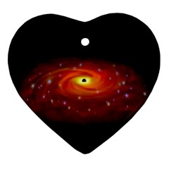 Space Galaxy Black Sun Ornament (heart) by Mariart