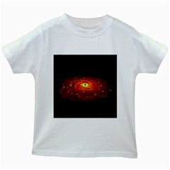 Space Galaxy Black Sun Kids White T Shirts by Mariart