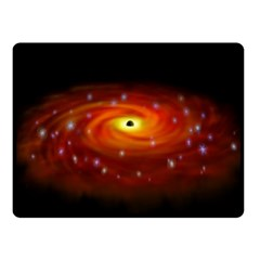 Space Galaxy Black Sun Fleece Blanket (small) by Mariart