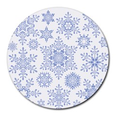 Snowflakes Blue White Cool Round Mousepads