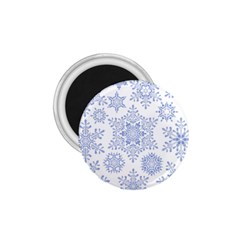 Snowflakes Blue White Cool 1 75  Magnets