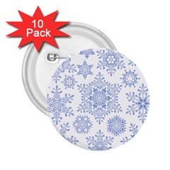 Snowflakes Blue White Cool 2 25  Buttons (10 Pack)