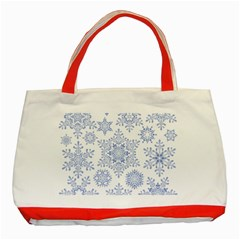 Snowflakes Blue White Cool Classic Tote Bag (red) by Mariart