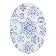 Snowflakes Blue White Cool Oval Ornament (two Sides) by Mariart