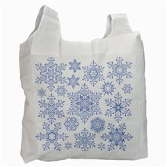 Snowflakes Blue White Cool Recycle Bag (one Side) by Mariart