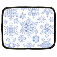 Snowflakes Blue White Cool Netbook Case (xl)  by Mariart