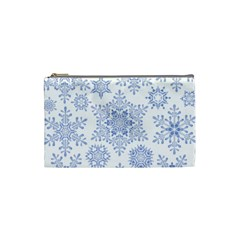 Snowflakes Blue White Cool Cosmetic Bag (small)  by Mariart