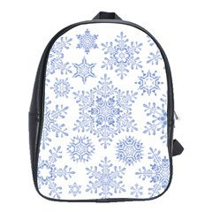 Snowflakes Blue White Cool School Bag (large)