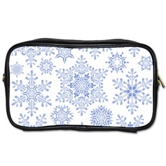 Snowflakes Blue White Cool Toiletries Bags