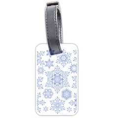 Snowflakes Blue White Cool Luggage Tags (one Side)  by Mariart