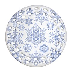 Snowflakes Blue White Cool Round Filigree Ornament (two Sides) by Mariart