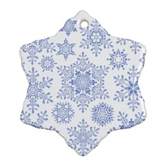 Snowflakes Blue White Cool Snowflake Ornament (two Sides) by Mariart