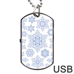 Snowflakes Blue White Cool Dog Tag Usb Flash (two Sides) by Mariart