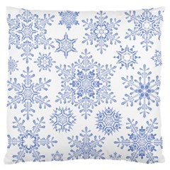 Snowflakes Blue White Cool Large Cushion Case (one Side) by Mariart