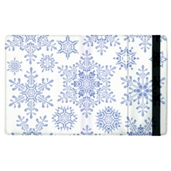 Snowflakes Blue White Cool Apple Ipad 2 Flip Case by Mariart