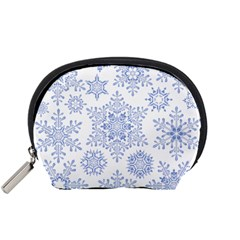 Snowflakes Blue White Cool Accessory Pouches (small)  by Mariart