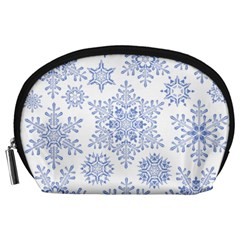 Snowflakes Blue White Cool Accessory Pouches (large)  by Mariart