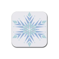 Snowflakes Star Blue Triangle Rubber Square Coaster (4 Pack)  by Mariart