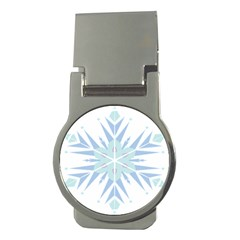 Snowflakes Star Blue Triangle Money Clips (round)  by Mariart