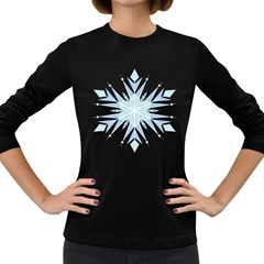 Snowflakes Star Blue Triangle Women s Long Sleeve Dark T Shirts