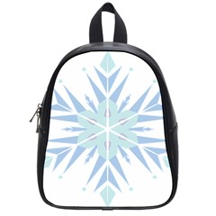 Snowflakes Star Blue Triangle School Bag (small) by Mariart