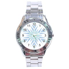Snowflakes Star Blue Triangle Stainless Steel Analogue Watch by Mariart