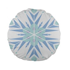 Snowflakes Star Blue Triangle Standard 15  Premium Round Cushions by Mariart