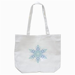 Snowflakes Star Blue Triangle Tote Bag (white) by Mariart