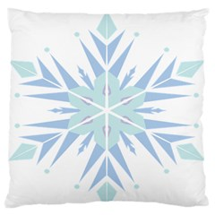 Snowflakes Star Blue Triangle Large Flano Cushion Case (one Side) by Mariart