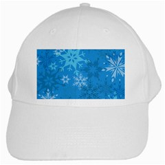 Snowflakes Cool Blue Star White Cap by Mariart