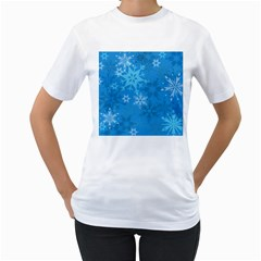 Snowflakes Cool Blue Star Women s T Shirt (white) (two Sided) by Mariart