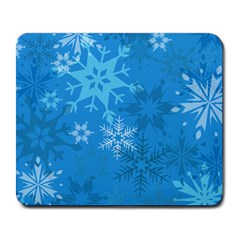 Snowflakes Cool Blue Star Large Mousepads by Mariart