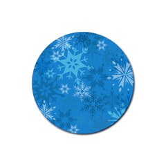 Snowflakes Cool Blue Star Rubber Coaster (round)  by Mariart