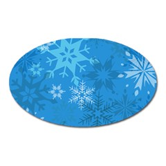 Snowflakes Cool Blue Star Oval Magnet