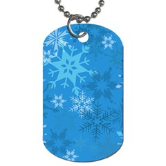 Snowflakes Cool Blue Star Dog Tag (two Sides) by Mariart
