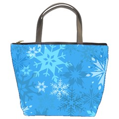 Snowflakes Cool Blue Star Bucket Bags by Mariart