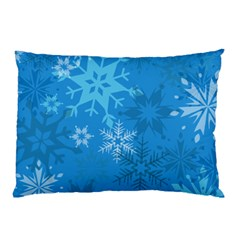 Snowflakes Cool Blue Star Pillow Case
