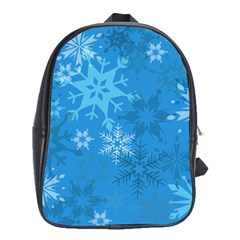 Snowflakes Cool Blue Star School Bag (large)