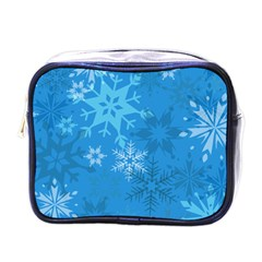 Snowflakes Cool Blue Star Mini Toiletries Bags by Mariart