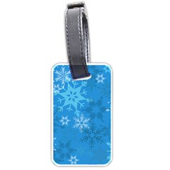 Snowflakes Cool Blue Star Luggage Tags (one Side)  by Mariart