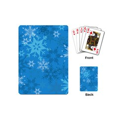 Snowflakes Cool Blue Star Playing Cards (mini)  by Mariart