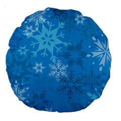 Snowflakes Cool Blue Star Large 18  Premium Round Cushions by Mariart