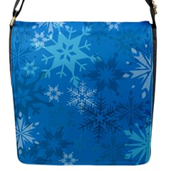 Snowflakes Cool Blue Star Flap Messenger Bag (s) by Mariart